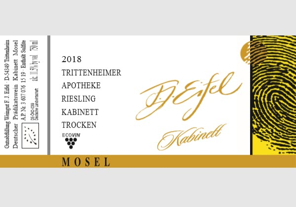 Trittenheimer Apotheke. Riesling Kabinett trocken 2018